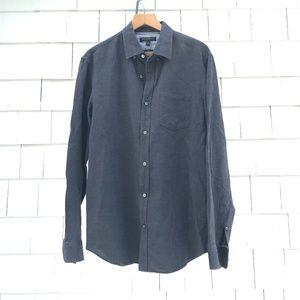 BANANA REPUBLIC linen gray slim fit button down L